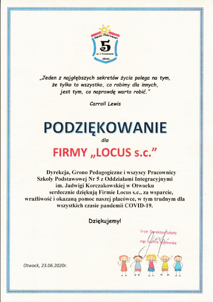 podziękowania dla Agencji nieruchomości Locus